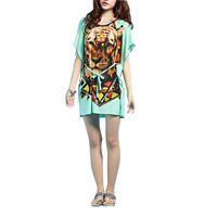 Polyester One-piece Dress, printed, animal prints, green, Size:Free Size, Sold By PC