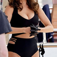 Polyester Plus Size One-piece Swimsuit hollow Solid black
