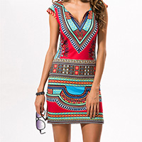 Polyester A-line One-piece Dress printed geometric red Sold By PC