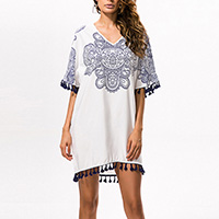Polyester Miracle Tassel One-piece Dress, printed, geometric, white, Size:Free Size, Sold By PC