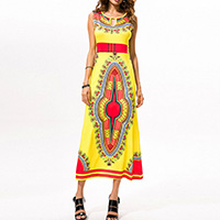 Polyester One-piece Dress, different size for choice, printed, geometric, yellow, Sold By PC