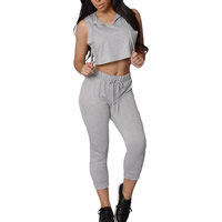 Spandex   Polyester Women Sportswear Set tank top   Pants Solid