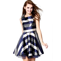 Polyester One-piece Dress, different size for choice, with Gauze, printed, striped, deep blue, Sold By PC