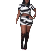 Polyester Women Casual Set Pants   top printed striped black