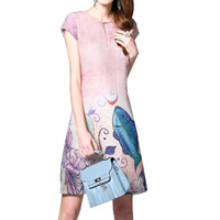 Line One-piece Dress printed Cartoon cameo Sold By PC