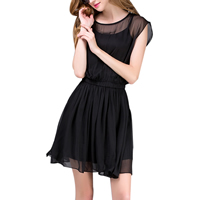 Chiffon One-piece Dress Solid black Sold By PC