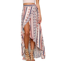Spandex & Polyester Asymmetrical Skirt short front long back printed mixed pattern pink Size:Free Size Sold By PC