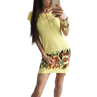 Polyester One-piece Dress, different size for choice, printed, butterfly pattern, yellow, Sold By PC