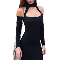 Spandex & Polyester Halter Dress, different size for choice & off shoulder, Solid, more colors for choice, Sold By PC