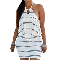 Spandex   Polyester Halter Dress backless hollow   above knee striped