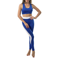 Polyester Women Yoga Clothes Set, different size for choice, tank top & Pants, patchwork, blue, Sold By Set