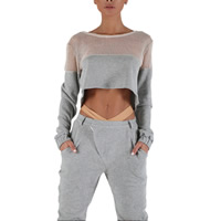 Polyester Women Sportswear Set hollow Pants   top patchwork grey