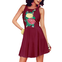 Spandex & Polyester One-piece Dress, different size for choice, embroider, floral, more colors for choice, Sold By PC