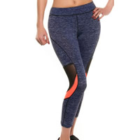Spandex & Polyester Women Yoga Pants, different size for choice & skinny & breathable, patchwork, blue, Sold By PC