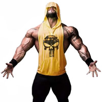 Polyester Men Athletic Tank, different size for choice, printed, skull pattern, more colors for choice, Sold By PC