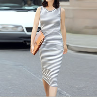 Cotton One-piece Dress, different size for choice, printed, striped, white, Sold By PC