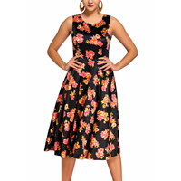 Spandex & Polyester One-piece Dress, different size for choice, printed, floral, more colors for choice, Sold By PC
