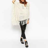 Acrylic Cloak   Miracle Tassel Cloak Poncho knitted Solid beige Size:Free Size