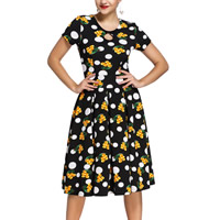 Spandex & Polyester One-piece Dress, different size for choice & hollow, printed, floral, black, Sold By PC