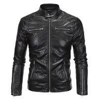 PU Leather Plus Size Men Jacket Solid black Sold By PC