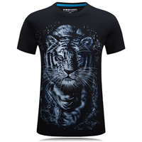 Cotton Plus Size Men Short Sleeve T-Shirt printed animal prints black