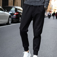 Polyester   Cotton Men Casual Pants Solid black