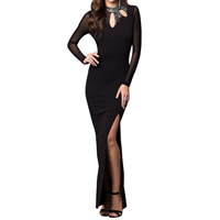 Spandex & Polyester Long Evening Dress backless floor-length & hollow & matte sequin with Gauze patchwork black Sold By PC