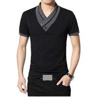 Cotton Plus Size Men Short Sleeve T-Shirt patchwork