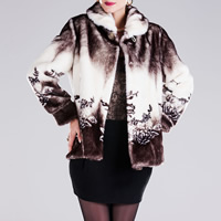 Fake Fur Plus Size Women Coat printed floral Sold By PC