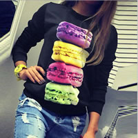 Cotton Women Sweatshirts, different size for choice, printed, macaron pattern, black, Sold By PC