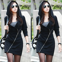 Cotton Sweatshirts Dress, different size for choice, Solid, black, Sold By PC
