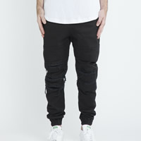 Cotton Men Pencil Pants frayed Solid black Sold By PC