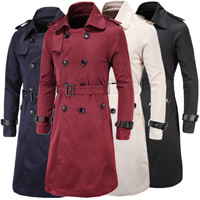 Polyester Men Trench Coat Solid