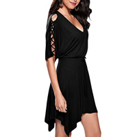 Spandex & Polyester Lace Up & Asymmetrical One-piece Dress hollow Solid Sold By PC