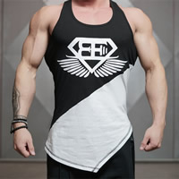 Cotton Men Athletic Tank breathable printed patchwork Sold By PC