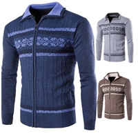 Polyester   Cotton Men Sweater knitted geometric