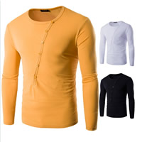 Polyester & Cotton Men Long Sleeve T-shirt, different size for choice, Solid, more colors for choice, Sold By PC