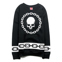 Cotton Unisex Sweatshirts, different size for choice & regular & unisex, printed, skull pattern, black, Sold By PC