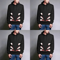 Cotton Men Sweatshirts, different size for choice & more thicker and more wool & loose, printed, black, Sold By PC