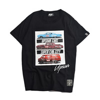 Cotton Men Short Sleeve T-Shirt, different size for choice & loose, printed, black, Sold By PC