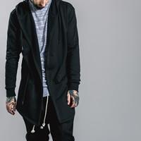 Cotton Men Coat Solid black