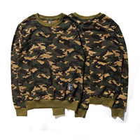 Cotton Men Sweatshirts loose camouflage army green