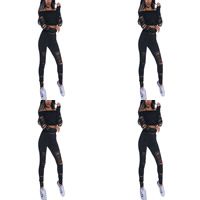 Spandex & Polyester Nightclub Set backless off shoulder & hollow Pants & top Solid Sold By Set