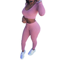 Cotton Women Sportswear Set, different size for choice, Pants & top, Solid, pink, Sold By Set