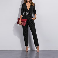 Cotton Long Jumpsuit Solid black Sold By PC