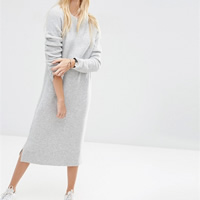Woolen Autumn and Winter Dress, mid-calf, Solid, grey, Size:Free Size, Sold By PC