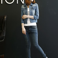 Denim Women Coat washed Solid blue Sold By PC