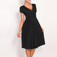 Spandex & Polyester One-piece Dress knee-length Solid Sold By PC