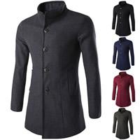 Polyester Men Coat regular Solid