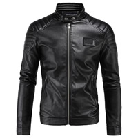 PU Plus Size Men Coat Solid black